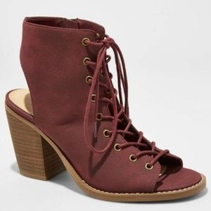 Mossimo Burgundy Gladiator Lace Up Wedge Sandals